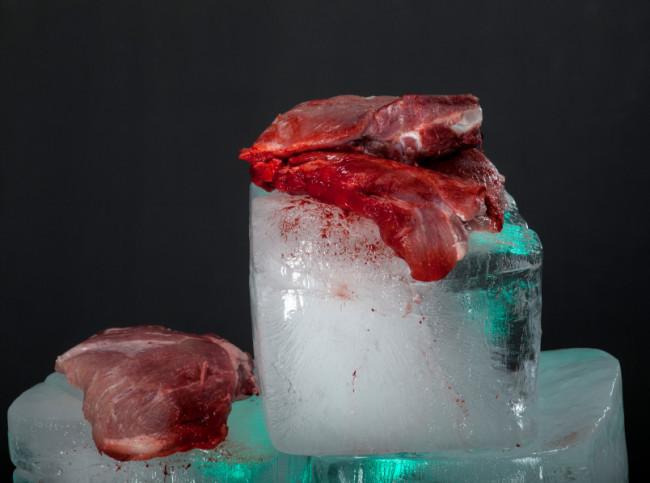 Frisches, rohes Fleisch auf Eiswürfel