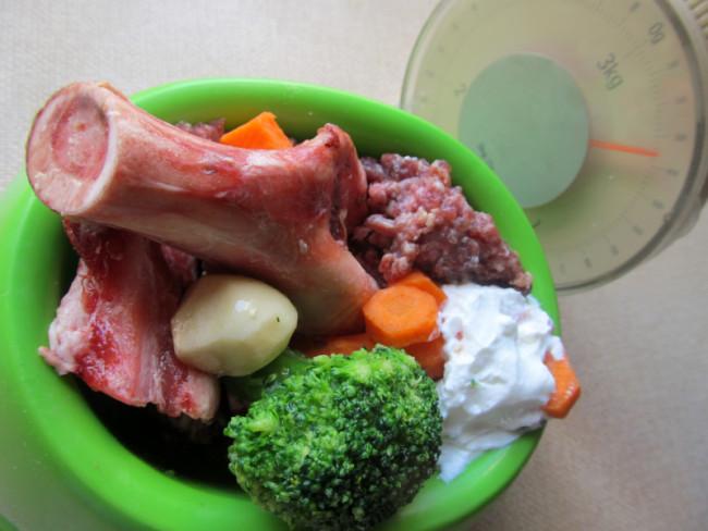 Hund Barf Ration mit Gemüse