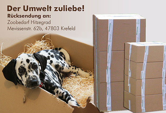 Die Klimaprämie von Hitzegrad: Wenn sie drei große, vier mittlere oder fünf kleine Boxen an Zoobedarf zurücksenden, erhalten Sie einen Gutschein in Höhe von 10,00 €.