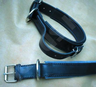 Lederhalsband mit Griff von 45 bis 80 cm Länge, handgenäht für Hunde