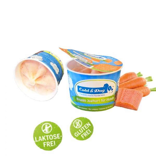 Hundeeis Joghurt Wildlachs 90 ml 12 Becher Sparpack