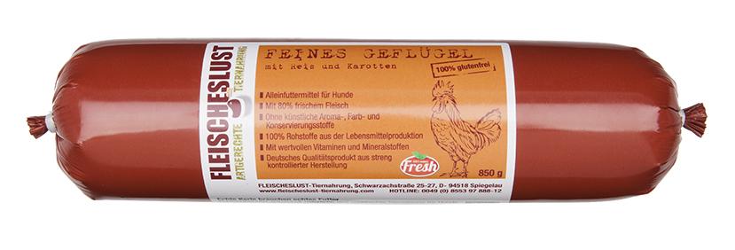 Fleischeslust - Feines Geflügel mit Reis & Karotten, 800 g für Hunde