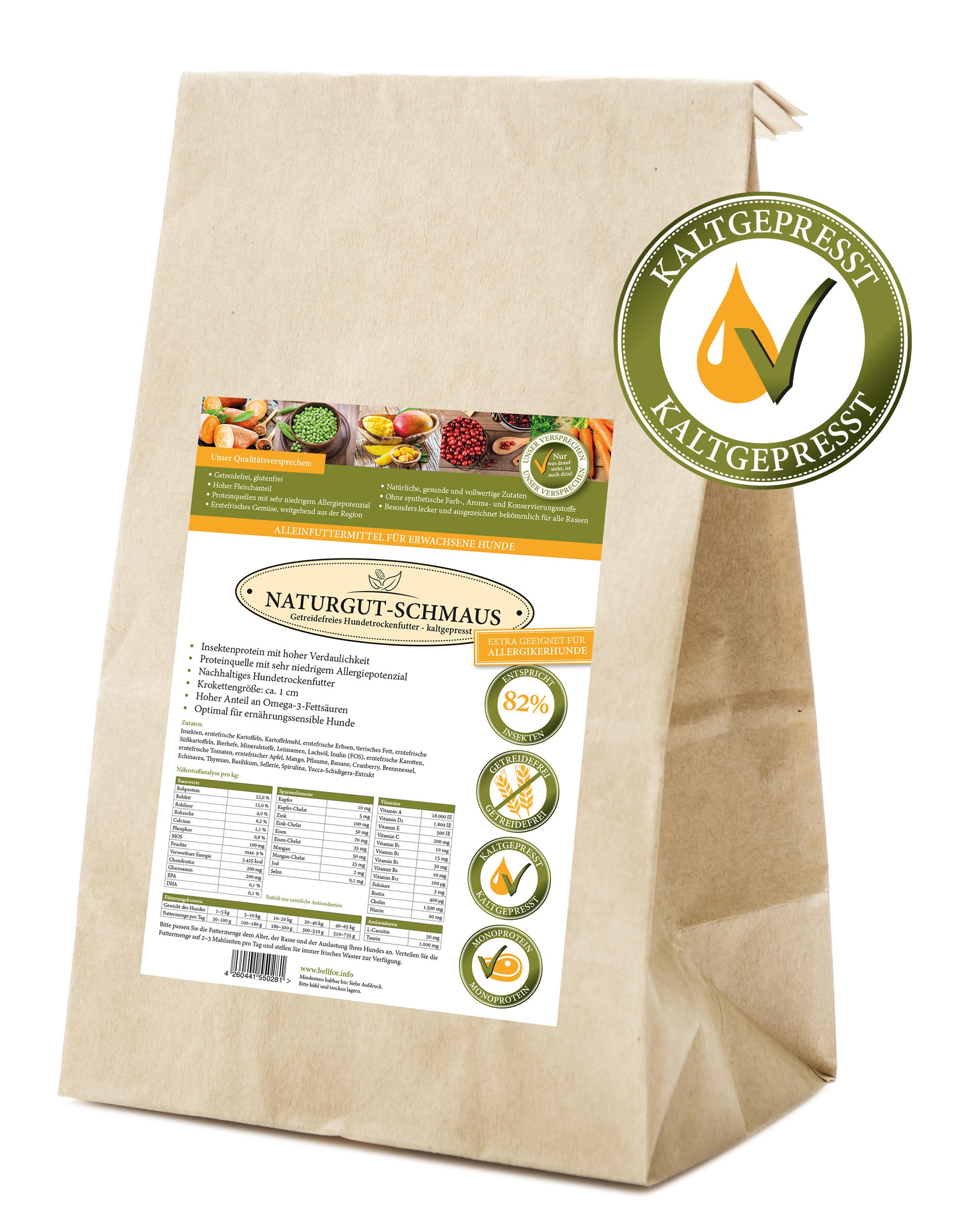 NATURGUT-SCHMAUS -Insekten- getreidefrei kaltgepresst (4 kg) für Hunde