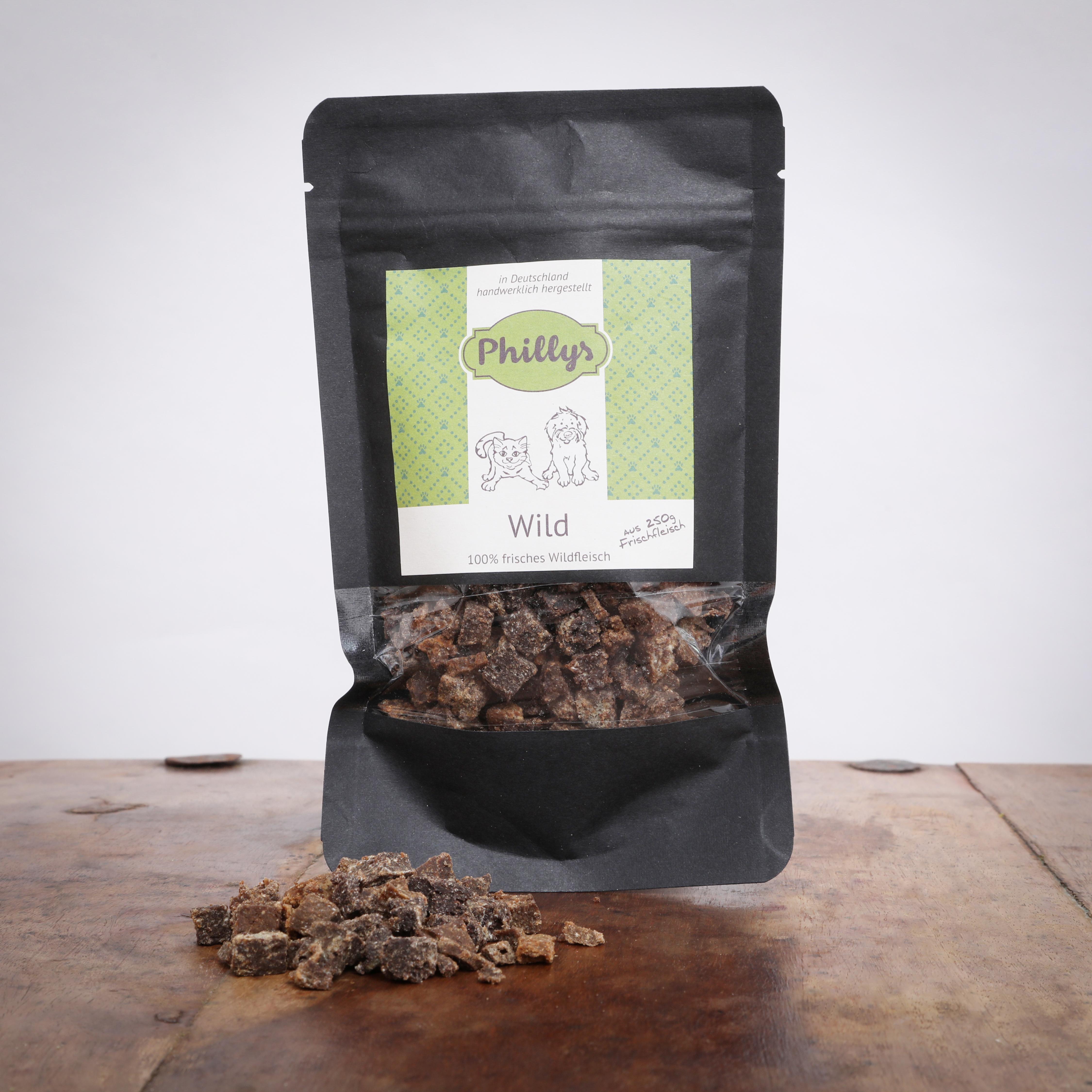 Phillys Fleisch Mini´s - Wild, 80 g für Katzen