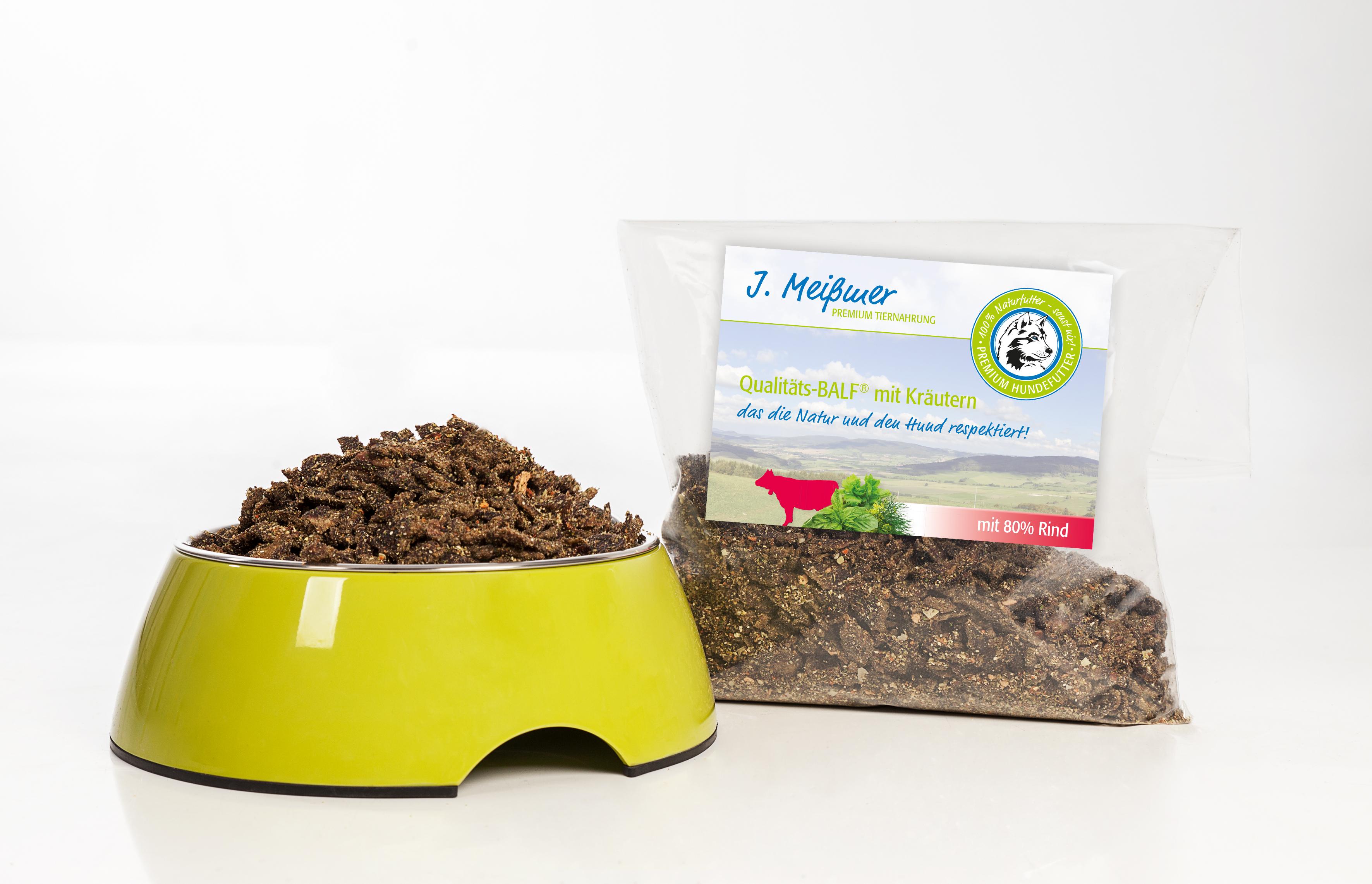 J. Meißmer Alleinfutter Rind mit Kräutern, 1 kg für Hunde