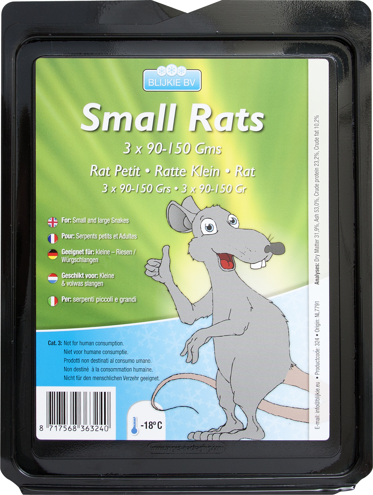 Mittelgroße Ratte, 150-250 g, 5 Stück für Katzen